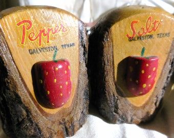 Wood Salt and  Pepper Shakers  Strawberry Rustic Carved Wood Cabin  or Lodge Decor  Galveston Souvenir  Ship Free