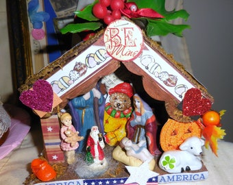 Vintage Creche Assemblage Original Holi-Daze Assemblage  How Many Holidays Are Represented Fun Assemblage