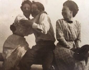 Three's a Crowd:  Sweet Vintage Snapshot, c1910, R