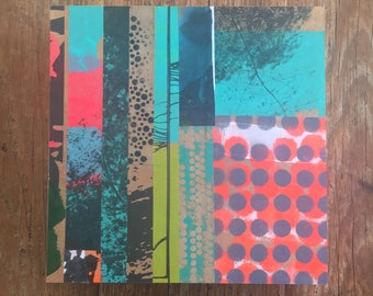 8x8 one-of-a-kind collage made from hand made papers on wooden panel