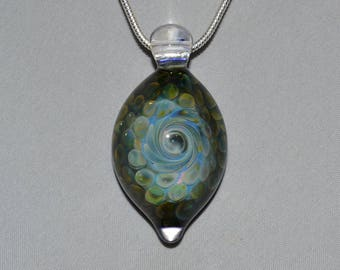 Heady Blown Glass Pendant ~ Trippy Handblown Boro Lampwork Glass Jewelry Medallion Necklace