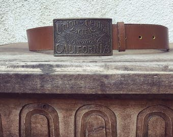 Vintage Union Central Pacific Railroad California leather belt