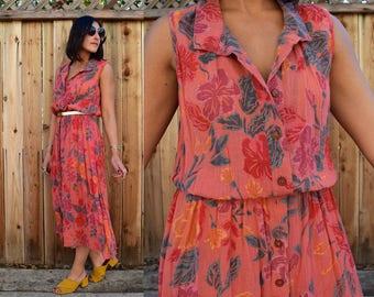 Vintage 70s FLORAL BOHO MAXI Dress M L