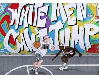 "Original ""You Can't Hear Jimi"" Giclée Art Print Poster White Men Can't Jump"