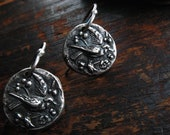 Reserved*** fleeting sparrows silver bird earrings : woodland jewelry, botanical jewelry, gift for her