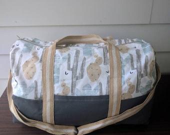 Adventurer overnight bag dessert cactus/ travel/ handmade/ carry on/ duffel bag/ cactus/ succulent