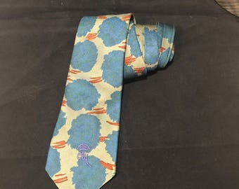 Countess Mara Vintage Necktie, Abstract Blue Orange and Green Pattern