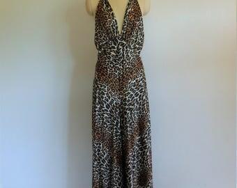 70s Vanity Fair leopard print jumpsuit lounger size medium