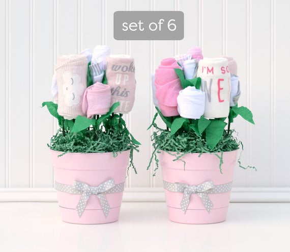 Girl Baby Shower Package, Girl Centerpiece Ideas, Unique Table Decorations, Flower Bouquet Centerpiece, Girl Baby Shower Decor Set