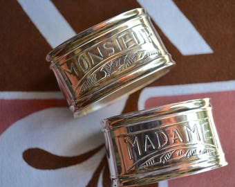 Metal Napkin Rings - Engraved For Madame and Monsieur
