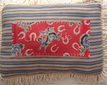 Giddy Up Vintage Quilt Piece PIllow
