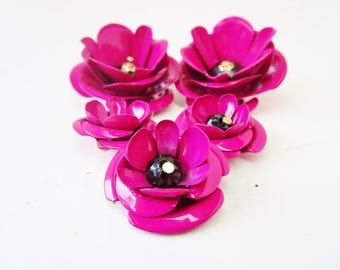 Vintage Enamel or Painted FLOWER  Lot of 5 Bright Fuschia Color Supplies Ready For Crafting Jewelry Bouquet Necklaces Earrings