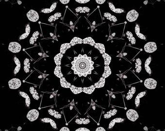 Healing Print, home Meditation Positive Energy, high vibration Mandala style, nature black white Sacred Geometry universal yoga studio decor