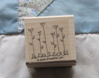 Stamp for Scrapbooking or Card Making- Tall Heart Flowers -Rubber Stamp