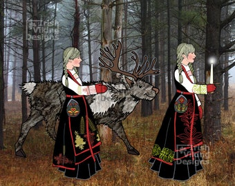Norwegian folk art, reindeer, Scandi sisters, Nordic forest, forest woods, candlelight, winter landscape, Viking nursery, traditional Norway