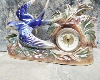 Mantle Clock. Vintage Clock. Swallow Clock. Bird Clock. Gema Holland Clock. Blue Swallow/Bird. 1950s Clock. Ornate Clock. Lustreware Clock