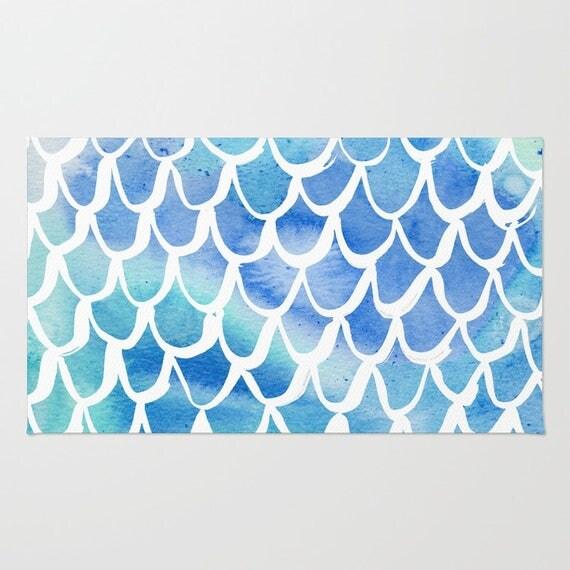 Mermaid rug - Area Rug - Blue Throw Rug - Carpet - Accent Rug - Floor Rug - Watercolor Rug - 2 x 3 rug - 3 x 5 rug - 4 x 6 rug