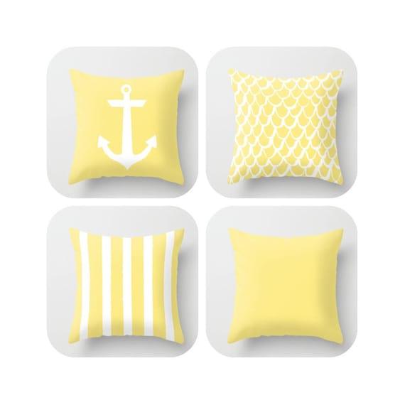 OUTDOOR Throw Pillow - Lemon Mermaid Pillow - Coastal Patio Cushion - Anchor Pillow - Stripe Pillow - 16 18 20 inch - Yellow Pillow