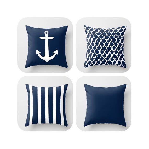 OUTDOOR Throw Pillow . Navy Mermaid Pillow . Coastal Patio Cushion . Anchor Pillow . Blue Stripe Pillow . 16 18 20 inch  Navy Outside Pillow