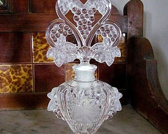 Vintage Pressed Glass Perfume Bottle Etched Grapes & Leaves