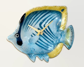 Small Angel Fish Wall Clock, Non Ticking Ceramic Plate Clock, Bathroom Clock ,