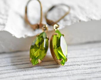 Grass-green Crystal Drops- Real Vintage Earrings