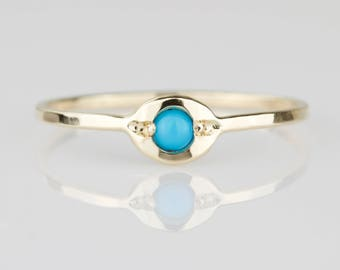 Turquoise Evil Eye Diamond Ring - Solid 14k Gold Natural Sleeping Beauty Turquoise Evil Eye Ring - Rose or White or Yellow Gold