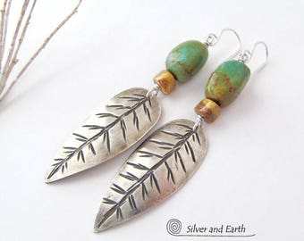 Sterling Silver Feather Earrings, Natural Turquoise Earrings, Handmade Silver Earrings, Southwestern Turquoise Jewelry, Metalwork Jewelry