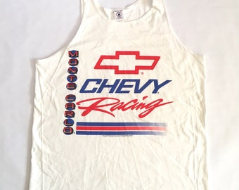 Chevy racing white tank top Monte Carlo Made in USA size XL