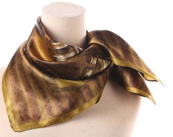 1960s Boho Satin Scarf Lovely Beige Bronze Gold Color Mod Retro Neck Scarf 27 x 27 Square 60s Mad Men Secretary Abstract Print