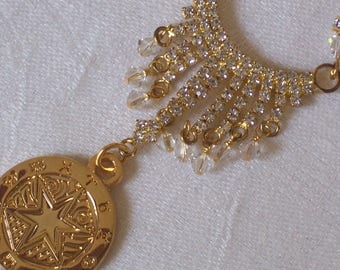 Zodiac Queen Rhinestone Zodiac Medallion assemblage necklace by ceeceedesigns on etsy