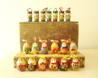 Matryoshka doll ornament sets, choose one, hand painted wood Christmas tree ornaments, babushka & marching band, 1980s vintage original box