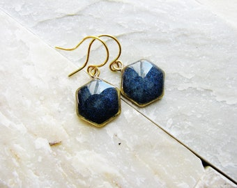 Blue Hex Earrings, Hexagon Modern Earrings, Geometric Earrings, Minimalist Earrings, Hexagon Dangle Earrings, Resin Earrings, Resin Jewelry