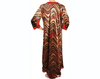 Vintage 1970s Velvet Caftan with Rippled Stripes - Bohemian  - L