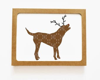Holiday Chocolate Lab or Chessie Dog Reindeer Card for Christmas Greetings or Happy New Year Cards