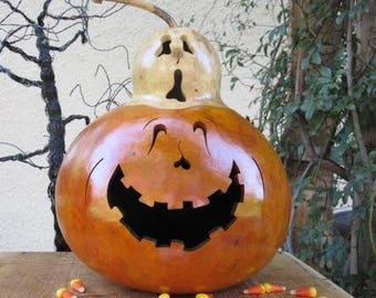 Halloween Gourd Large Ghost Top Jack O Lantern Primitive Pumpkin Decoration