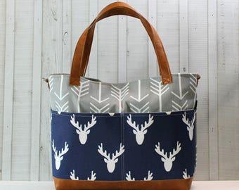 Grey Arrows - Navy Deer Head with Vegan Leather - Outside Pockets - Tote Bag /  Diaper Bag  / Large Bag