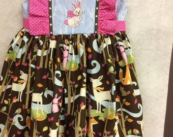 Girls size 3 T dress with a woodland print rabbit embroidery