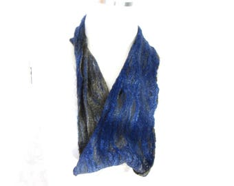 Cobweb Felted Scarf, Handmade Cowl, Infintiy Scarf, Wool Winter, Blue Brown, Womens Winter Fashion Accessory, OOAK Gift for Her Gift for Mom