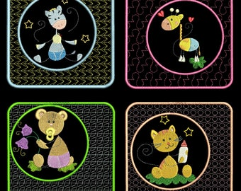 STICKY BABY ANIMAL Blocks (4inch) - 10 Machine Embroidery Designs Instant Download 4x4 hoop (AzEB)