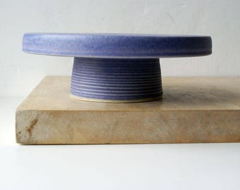 Ceramic cake stand - hand thrown stoneware pottery glazed in lavender blue