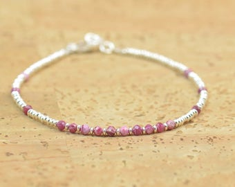 Ruby and sterling silver beads bracelet