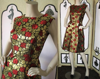 Vintage 1960's Cocktail Dress in Gold Metallic, Vivid Red and Black. Small.