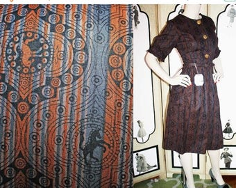 ON SALE 1960's UNICORN Novelty Print Shirt Dress. Unworn with Tags. Large to Xl.