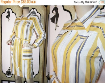 ON SALE Vintage Western Shirt Dress by Skimma in Yellow, White and Navy. Medium.