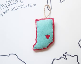 INDIANA Heart My State Ornament . Custom State Felt Christmas Ornament . State Ornament . IN Christmas Ornament (Made to Order)