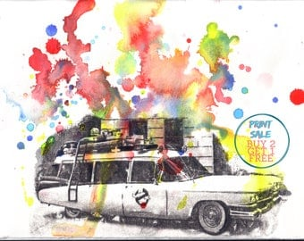 Ghostbuster's Wagon Art Print From Original Watercolor Painting - 8 x 10 in. Ghostbusters Art Print Movie Poster Pop Art