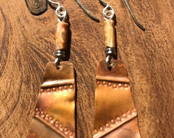 Repurposed roofing copper fold formed earrings