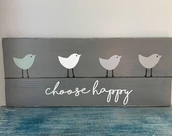 bird wall hanging, birds on a wire, wooden bird decor, bird art, choose happy, gray wall art, unique gift, inspirational sign, wood bird