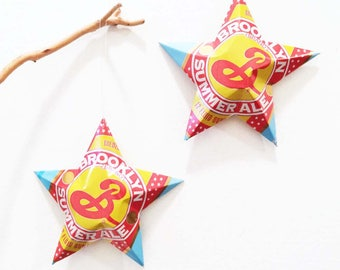 Brooklyn Summer Ale, Aluminum Can Stars, Christmas Ornaments, Brooklyn Brewery, Recycled Gift Topper, Mancave Decor